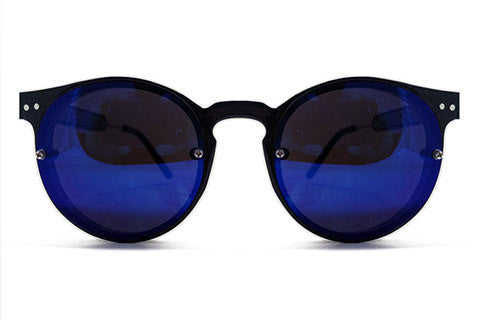 Spitfire - Postpunk Black Sunglasses, Blue Mirror Lenses