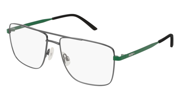 Puma - PU0216O Ruthenium + Green Eyeglasses / Demo Lenses