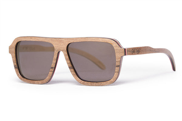 Proof Bud Skate Walnut Sunglasses, Gold Lenses