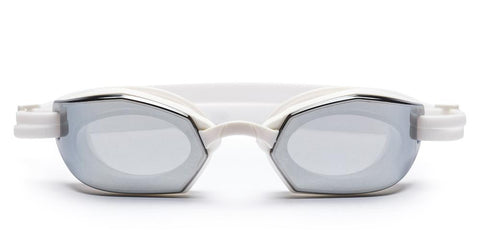 Westward Leaning - Dive 02 Matte White Swim Goggles / Super Silver Mirror Lenses