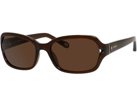 Fossil - 3021  Transparent Brown  Sunglasses / Dark Brown  Lenses