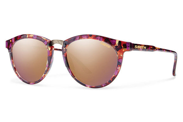 Smith Questa Flecked Mulberry Tortoise Sunglasses, Rose Gold Mirror Lenses