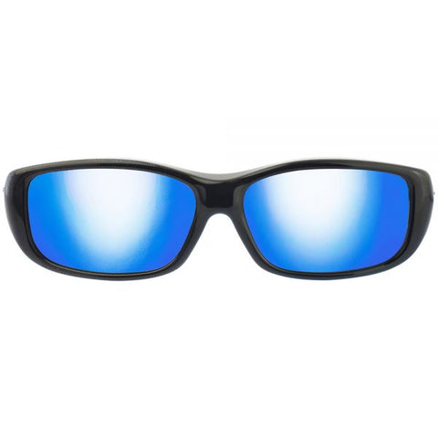 Jonathan Paul Fitovers - Queeda Eternal Black Fitover Sunglasses / Polarvue Blue Mirror Lenses