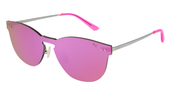 Puma - PU0137S Pink + Silver Sunglasses / Pink Lenses