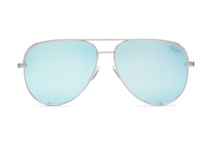 Quay x Desi Perkins High Key Silver / Blue Sunglasses