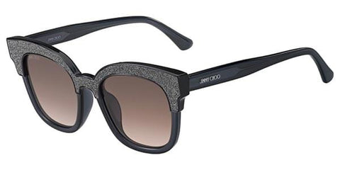 Jimmy Choo - Mayela/S Dark Gray Glittery Sunglasses / Brown Lenses