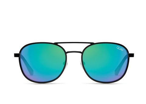 Quay Alex Rodriguez #QUAYXAROD Apollo Black Sunglasses / Blue Green Lenses