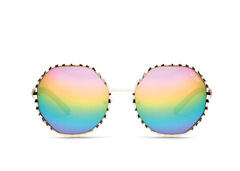 Quay Breeze In Gold Sunglasses / Purple Rainbow Lenses