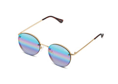 Quay Farrah Gold Sunglasses / Purple Rainbow Lenses