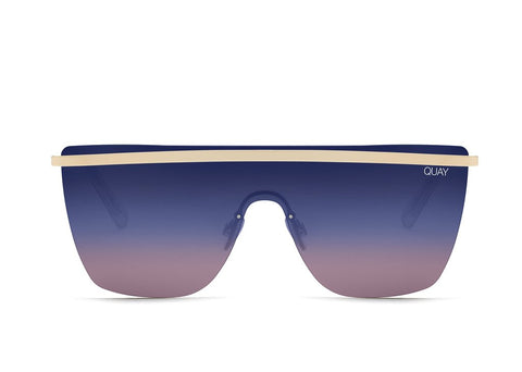 Quay Jennifer Lopez #QUAYXJLO Get Right Gold Sunglasses / Blue Purple Lenses