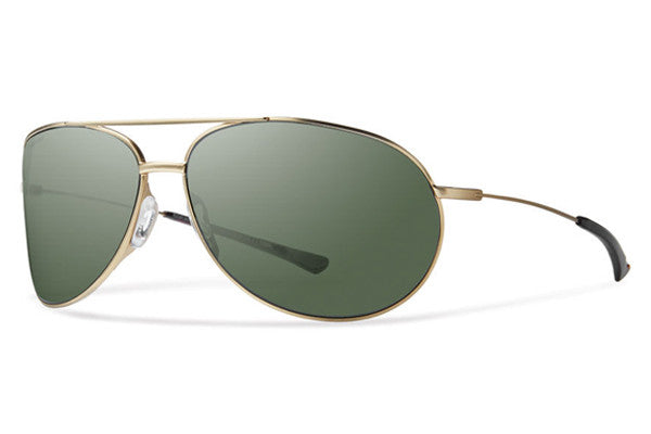 Smith - Rockford Matte Gold Sunglasses, Polarized Gray Green Lenses