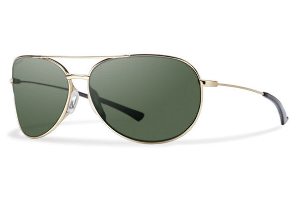 Smith - Rockford Slim Gold Sunglasses, Polarized Gray Green Lenses