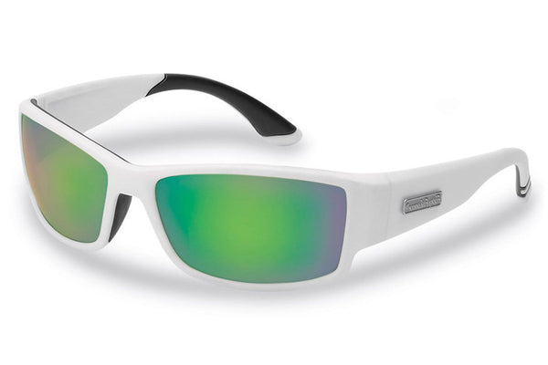 Flying Fisherman - Razor 7717 Matte White Sunglasses, Amber-Green Mirror Lenses