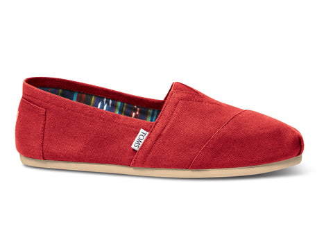 TOMS - Men's Classics Red Canvas Slip-Ons