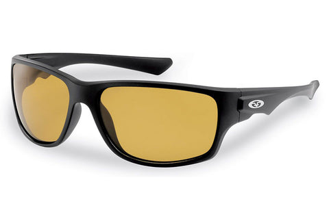 Flying Fisherman - Roller 7760 Matte Black Sunglasses, Yellow-Amber Lenses