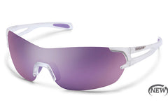 Suncloud - Airway Crystal White Sunglasses, Purple Mirror Lenses