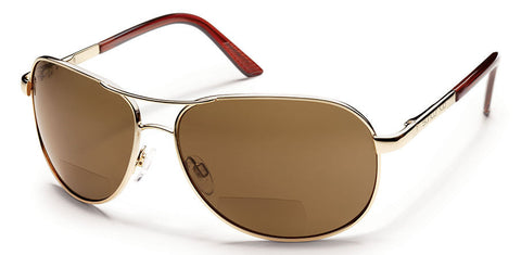 Suncloud - Aviator +1.50 Gold Sunglasses, Brown Polarized Lenses