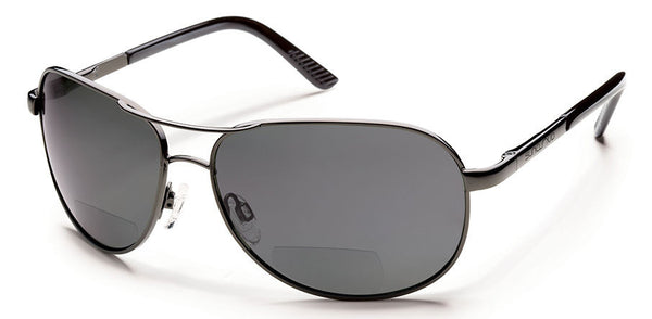 Suncloud - Aviator +1.50 Gunmetal Sunglasses, Gray Polarized Lenses