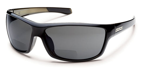 Suncloud - Conductor +1.50 Black Backpaint Sunglasses, Gray Polarized Lenses