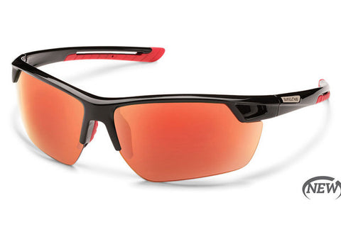 Suncloud - Contender Black Sunglasses, Red Mirror Polarized Lenses