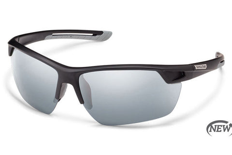 Suncloud - Contender Matte Black Sunglasses, Silver Mirror Polarized Lenses