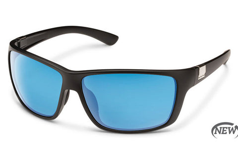 Suncloud - Councilman Matte Black Sunglasses, Blue Mirror Polarized Lenses