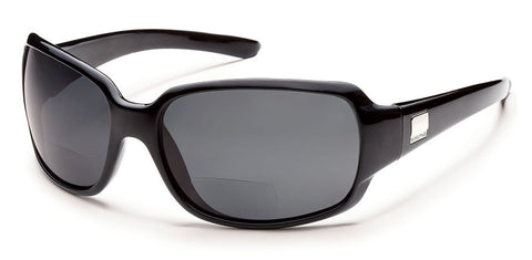 Suncloud - Cookie +1.50 Black Backpaint Sunglasses, Gray Polarized Lenses