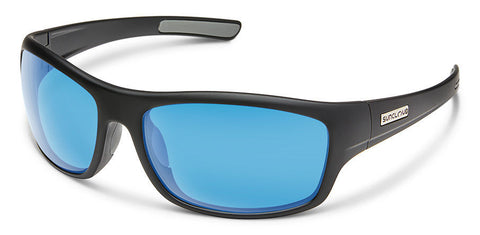 Suncloud - Cover Matte Black Sunglasses / Polar Blue Mirror Lenses