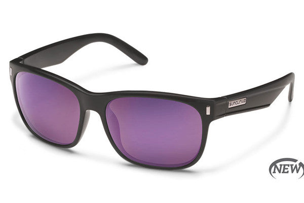 Suncloud - Dashboard Matte Black Sunglasses, Purple Mirror Polarized Lenses