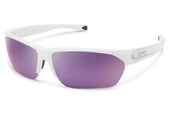 Suncloud - Detour White Sunglasses, Purple Mirror Lenses