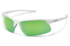 Suncloud - Flyer White Sunglasses, Green Mirror Lenses