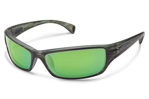Suncloud - Hook Matte Green Stripe Sunglasses, Green Mirror Lenses