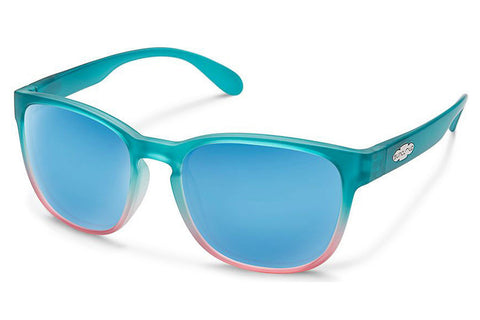 Suncloud - Loveseat Aqua Pink Fade Sunglasses, Blue Mirror Lenses