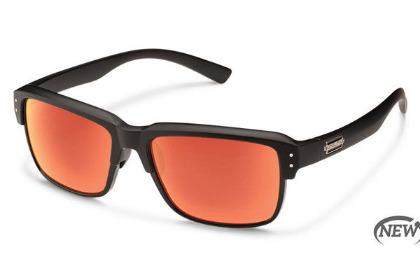 Suncloud - Port O Call Matte Black Sunglasses, Red Mirror Polarized Lenses