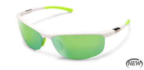 Suncloud - Tension Matte White Sunglasses / Polarized Green Mirror Lenses