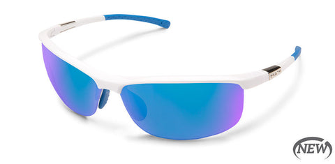 Suncloud - Tension White Sunglasses / Polarized Blue Mirror Lenses