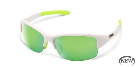 Suncloud - Torque Matte White Sunglasses / Polarized Green Mirror Lenses