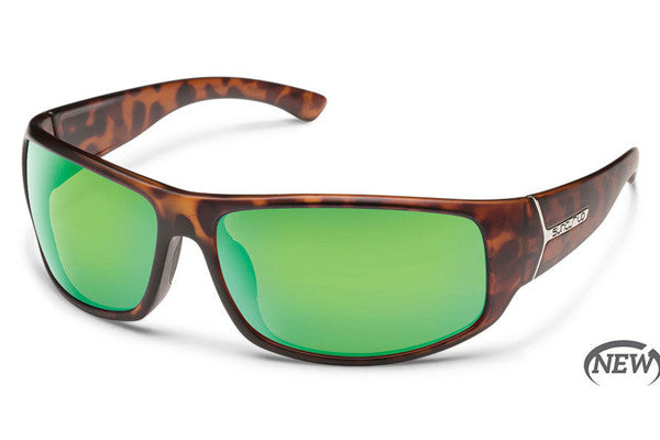 Suncloud - Turbine Matte Tortoise Sunglasses, Green Mirror Polarized Lenses