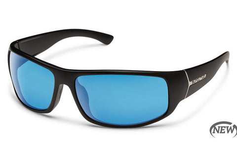 Suncloud - Turbine Black Sunglasses, Blue Mirror Polarized Lenses