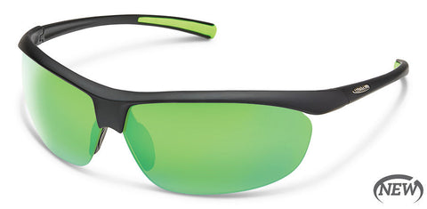 Suncloud - Zephyr Matte Black Sunglasses / Polarized Green Mirror Lenses