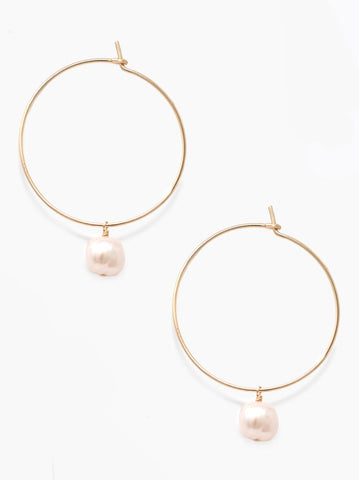 ABLE - Pearl Adornment Hoop Gold Blush Earrings