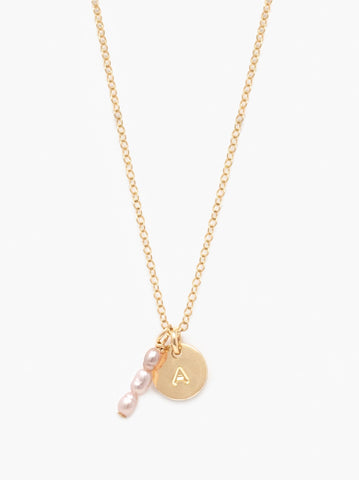 ABLE - Pearl Dewdrop Tag Gold Blush Necklace