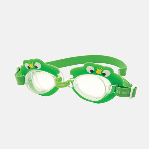Leader - Frog Green Swim Goggles / Clear Lenses