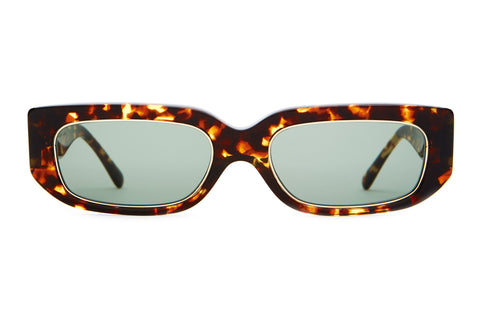 Crap Eyewear - Paradise Machine Dark Tortoise + Gold Sunglasses / Green Vintage Lenses