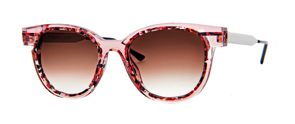 Thierry Lasry - Shorty Translucent Pink Multicolor Sunglasses / Brown Gradient Lenses