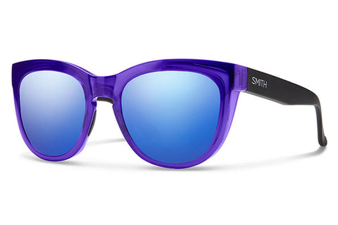 Smith - Sidney Crystal Ultraviolet - Matte Black Sunglasses, Blue Flash Mirror Lenses