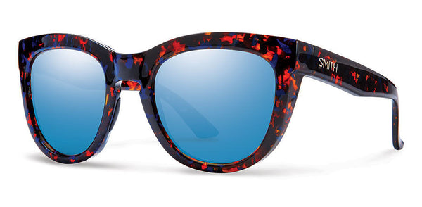 Smith Sidney Flecked Blue Tortoise Sunglasses, Blue Flash Mirror Lenses