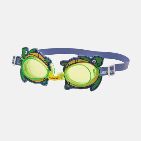 Leader - Turtle Blue Swim Goggles / Green Lenses