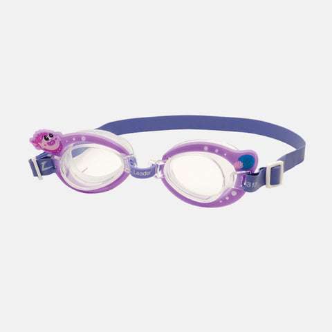 Leader - Puffer Fish Purple Swim Goggles / Clear Lenses