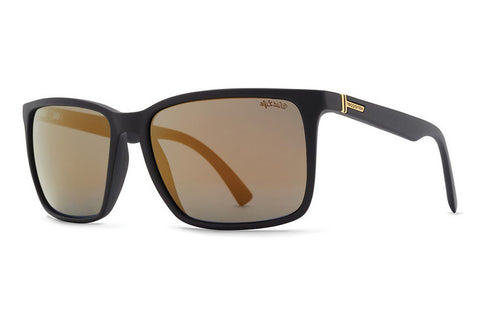 VonZipper - Lesmore Black Satin PDC Sunglasses, Wildlife Gold Polarized Lenses